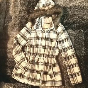 Ashley size M plaid jacket with fur lined hood